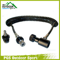 Paintball Remote Hose Coiled Thick air line w/Quick disconnect & Slide Check