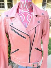 Harley Davidson Pink Leather Biker Motor Cycle Queen Jacket Women M Distressed