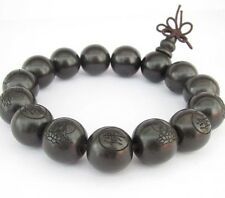 15mm Black Sandalwood Buddha Word Tibet Buddhist Prayer Beads Mala Bracelet