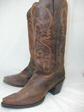 Dan Post Maria Womens 8.5M Brown Leather High Cowboy Heel Pull-on Boots snip toe