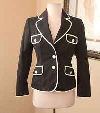 Moschino Cheap and Chic Black Cream Off White Blazer Suit Jacket Sz 8 FLAWED!