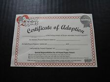 POUND PUPPIES 1996 CERTIFICATE OF ADOPTION Galoob Toys Plush Stuffed Animal