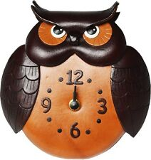 Unique Owl Handmade Genuine Leather Wall Clock *VANCA* Made in Japan #26262