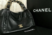 100% CHANEL Black Lambskin CC Gold Chain Oslen Hobo LIMITED EDITION Tote Bag