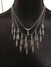 LUCKY BRAND Silver-Tone Turquoise Bead & Feather Layer Necklace NWT L@@K Fast!!!