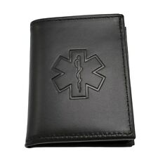 Star of Life EMT EMS Paramedic Medical Rescue Leather Bi Fold Mens Black Wallet