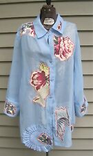 Upcycled L 18/20 Periwinkle Pearl Chiffon Doily Blouse Magnolia Jacket Lagenlook