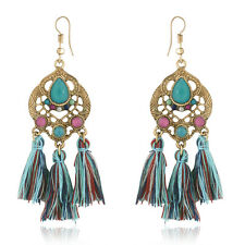 Spargz Indian Sty Color Beads Woolen Tassels Dangle Earrings For Women AIER 903