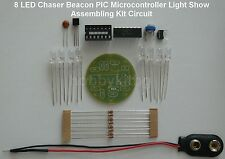 Green LED Chaser Beacon PIC  Light Show Strobe Kit  - ( 8 x 5mm LEDs) 9905 Green