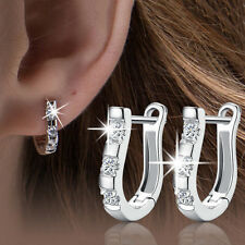 New 1 Pair Chic Silver Plated Lady White Gemstones Women's Hoop Earrings
