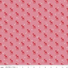 Riley Blake Cozy Christmas Fabric.Cozy Reindeer in Pink. sold by the Fat Quarter