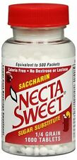 Necta Sweet Saccharin Sugar Substitute 0.25 grain Tablets 1000 Tablets (3 pack)
