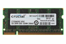Crucial 2GB 2RX8 DDR2 667MHz PC2-5300S 200pin SODIMM Unbuffe Intel Laptop Memory