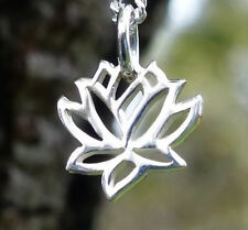 Sterling Silver Spiritual Lotus Pendant Flower Charm Yoga Jewelry Necklace UK