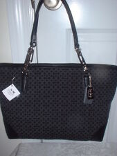 NWT  Coach Madison OP A Needlepoint Design Black Signature EW Tote Handbag 26767