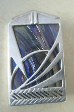 Scottish Silver Art Deco Brooch - Pat Cheney / John Ditchfield Glass 1980s