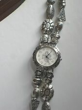 COWBOY FACE WESTERN WATCH WITH SOUTHWESTERN SILVER PLATED BEAD BAND