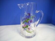 Arcoroc Hand Painted Glass Pitcher  By J Walsh France Juice or Cocktail 8""