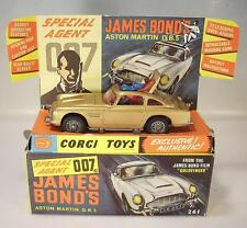 CORGI TOYS 261 JAMES BOND ASTON MARTIN db5 Gold in Crisp BOX-Original 1965!!!