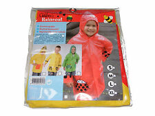 CHILDRENS KIDS MEDIUM SIZE YELLOW RAINCOAT RAIN COAT WITH RED POCKETS - NEW