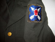 1955 US Green Army 100% Wool Serge Jacket 38R XXI 21st Army Corps Patch Korean?