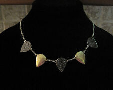 Lucky Brand~Two Tone~Pave Stone~Teardrop Guitar Pick~Collar Necklace~JLD0896