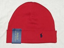 POLO RALPH LAUREN Cotton Thermal Cuffed Beanie, Skull Ski Cap, Hat, Pony, RED