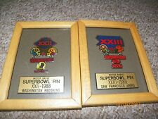 2 x Framed NFL Superbowl pin XXIII San Francisco 49ers, XXII Washington Redskins