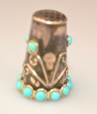 VINTAGE MEXICAN STERLING SILVER & TURQUOISE THIMBLE SIGNED JMA EAGLE 3