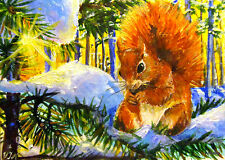 ACEO Original Painting Winter Landscape Snow Animals Squirrel Sun Tree by VJN