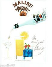PUBLICITE ADVERTISING 056  1987  le Coconut light drink de Malibu