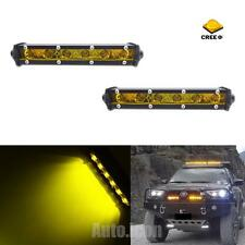 "2pcs 7"" Golden Yellow 6-CREE XBD LED Work Flood Lights Bar For SUV Pickup Truck"
