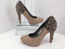 Sam Edelman Roza Studded Spiked Heel Pumps Beige Leather, Size 6M