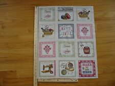 Make Do And Mend Happy Sewing Crochet Cotton Quilt Fabric Panel Blocks OOP