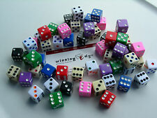 ASSORTED OPAQUE DICE 10 COLORS 5 EA  (50 PACK) 16mm BUNCO PARTY? FREE SHIPPING