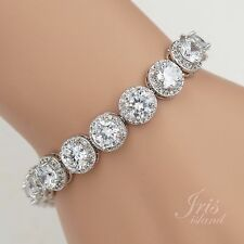 7 In White Gold GP Round Cut Clear Cubic Zirconia CZ Tennis Bracelet 00772 New