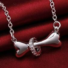 "Fashion Silver 925 Dog Bone Chain 18"" Pendant Necklace Unisex Jewelry Collar New"