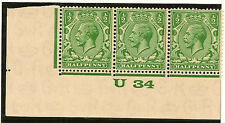 GB :1/2d Block Watermark Waterlow control U34 strip of three stamps SGN33/4 mint