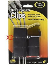 NEW - 12 Pack Cord Away Wire Organizer Clips Self-Adhesive Wire Ties Black 00204