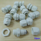 10pcs White Plastic PG7 Waterproof Cable Connectors Gland Dia.3.5-6mm S573