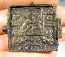 RARE AND AUTHENTIC MEDIEVAL BRONZE ICON DEPICTING MOTHER MARY -  ID189