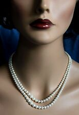 "Antique Vintage Signed MIKIMOTO Double Strand Pearl Sterling Silver 17"" Necklace"