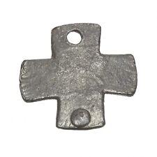 Antique Silver Rivet Cast Iron Plain Cross Charm Pendant 26mm Pack of 1 (C92/24)