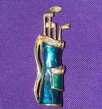 GOLF BAG BROOCH RHINESTONES & FOREVER SHINE RESIN CLOISONNÉ OVER METAL