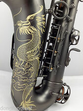 Eastern Music Professional matt black surface Alto Saxophone dragon engravings