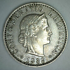 1939 B Switzerland 20 Rappen Swiss Helvetia 20 Cent Coin XF