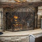 Indoor Accessories Black Brushed Gold Finish Wrought Iron Fireplace Screen