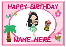 ND1 A4 hawaiian beach Luau birthday personalised A4 cake topper icing sheet