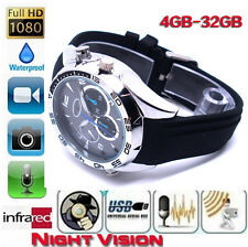 16 GB 1920*1080P HD Waterproof Spy Watch Camera with IR Night Vision Hidden Cam
