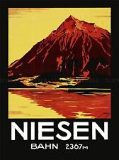 TRAVEL TOURISM SWISS ALPS MOUNTAIN NIESEN PYRAMID ART POSTER PRINT LV4251